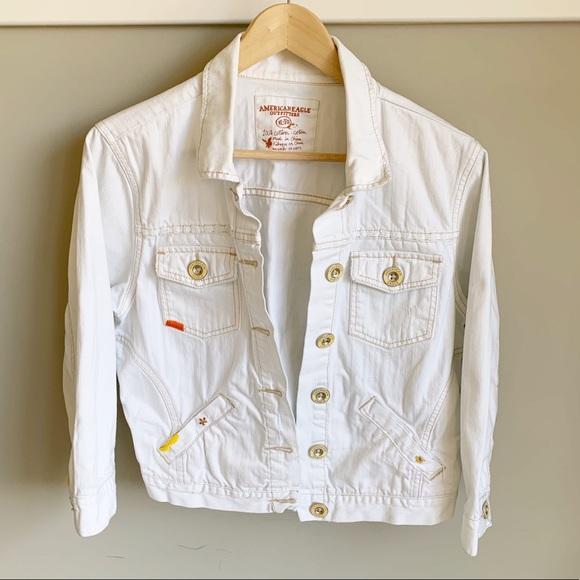 American Eagle Embroidered White Denim Jacket